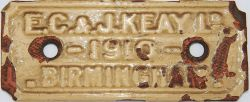 Cast iron Manufacturers Plate 'E.C. & J. Keay Ltd 1910 Birmingham' Scalloped corners measuring
