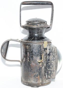 LYR 3 aspect square fronted bullseye Handlamp. Complete with original 'LYR' stamped reservoir. Brass