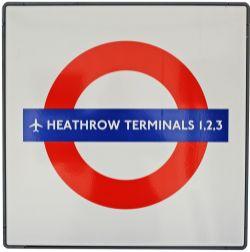 London Transport Enamel Underground Station Target Sign HEATHROW TERMINALS 1, 2, 3 fully flanged