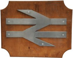 British Rail alloy Double Arrow Badge, large size 27.5 inches x 17 inches mounted on a display