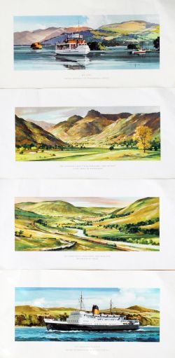 Loose Carriage Prints - qty 4 comprising: The Langdale Valley Near Ambleside by Greene; The Lune