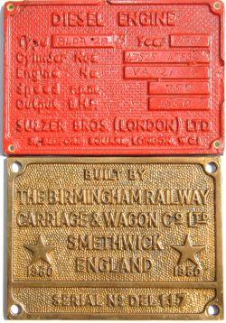 Worksplate Built By The Birmingham Railway Carriage & Wagon Co Smethwick 1960 Ser No DEL 117. Ex