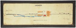 GWR signal box diagram 'LOUDWATER' hand coloured in its original frame dated 4/4/42. From Wooburn