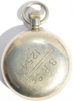 LNER Pocket Watch re-numbered BRSc 1254 on the nickel cased housing.  Swiss made by Record, it has a