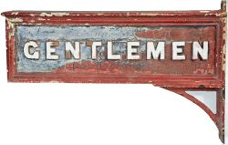 L&NWR wood with cast iron letters double sided wall mounted sign GENTLEMEN, complete with original