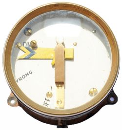 GWR brass cased Distant Signal Indicator, manufactured by Tyer & Co with test label inside dated
