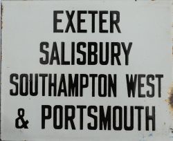 L&SWR Destination enamel plate 6.5 inches x 5.5 inches, black on white showing Exeter -
