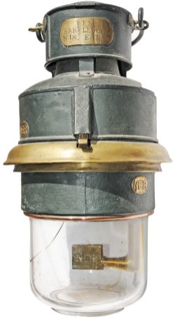 North Eastern Railway Pot Lamp. Brass plated with the NER oval on the side and the brass internal