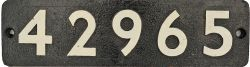 Smokebox Numberplate 42965. Ex LMS Stanier 2-6-0 Locomotive built Crewe January 1934 and allocated