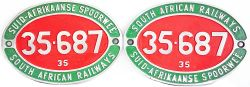 South African alloy Cabside Numberplates, a pair 35-687  class 35 dual language, face restored