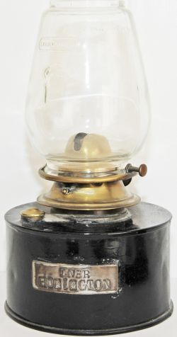 LNER Platform Lamp Interior steel plated 'LNER HONINGTON'. Complete with tulip shaped glass globe on