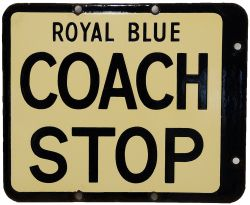 Royal Blue double sided enamel Coach Stop Sign, 12.5 x 10.5 inches, blue lettering on cream