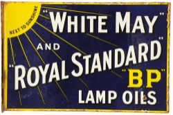 Enamel Advertising Sign 'White May & Royal Standard BP Lamp Oils' double sided, wall mounting