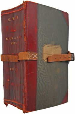 GWR leather bound Book , purple with gold lettering on spine 'G.W.R HRR & RC DEPT - MENUS' A