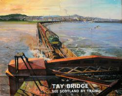 Poster British Railways 'Tay Bridge - See Scotland By Train' by Terence Cuneo, quad royal size 40