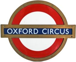London Transport bronze framed enamel Station Target OXFORD CIRCUS. This is the small size, approx
