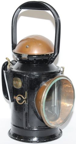 GWR 3 aspect Coppertop Handlamp with original etched front lens and original reservoir fitted with a