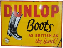 Enamel Advertising Sign DUNLOP BOOTS AS BRITISH AS THE LAND semi pictorial with Wellington Boot