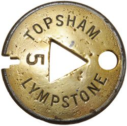 Tyers No 6 Single line steel and brass Tablet TOPSHAM - LYMPSTONE No 5. Ex L&SWR section on the