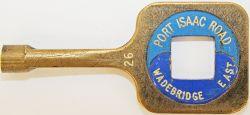 Single Line brass Key Token PORT ISAAC ROAD - WADEBRIDGE. Ex LSWR's North Cornwall line between