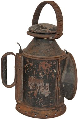 Furness Railway 3 Aspect Handlamp. Stamped 'FR No 48 FOG', also stamped 'LNWR Wolverton' on reducing