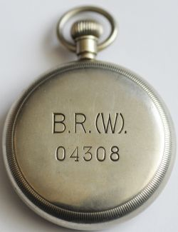 BR(W) Pocketwatch engraved on rear of case 'B.R.(W) 04308' and also on the enamel face. Swiss Made