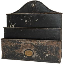 Caledonian Railway tinplate Leaflet Rack. Clearly stamped with company name in full and also '
