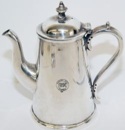 GWR Marine Department silverplate Coffee Pot with finial lid made by Elkington. Quite delightful