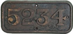 GWR cast iron Cabside Numberplate 5234.Ex Churchward 42xx class 2-8-0 built Swindon Works in July