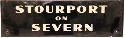GWR enamel Lamp Tablet STOURPORT -ON-SEVERN. White lettering on black ground in three lines and
