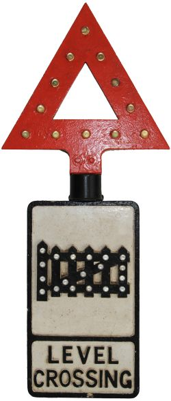 Cast iron Roadsign LEVEL CROSSING complete with clear glass reflectors. Measures 21 inches x 12