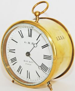 GWR brass cased Drum Clock with enamel dial 'GWR Kay & Co Paris'. Same number 5158 stamped on case