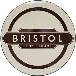 BR(W) enamel Roundel Sign BRISTOL TEMPLE MEADS. Used at the station generally in favour of the usual