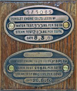 Hunslet Engine Boiler Test Plates, a pair dated 1950 and 1966. Measures 4.5 x 2.5 inches and are