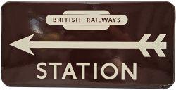BR(W) enamel Direction Sign with left facing arrow below British Railways totem logo. Excellent