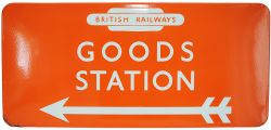 BR(NE) enamel Direction Sign GOODS STATION  with left facing arrow and British Railways in Totem,