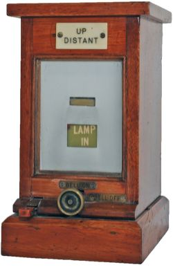 GWR mahogany cased Lamp In/Out Repeater with ivorine plate UP DISTANT. Excellent condition.