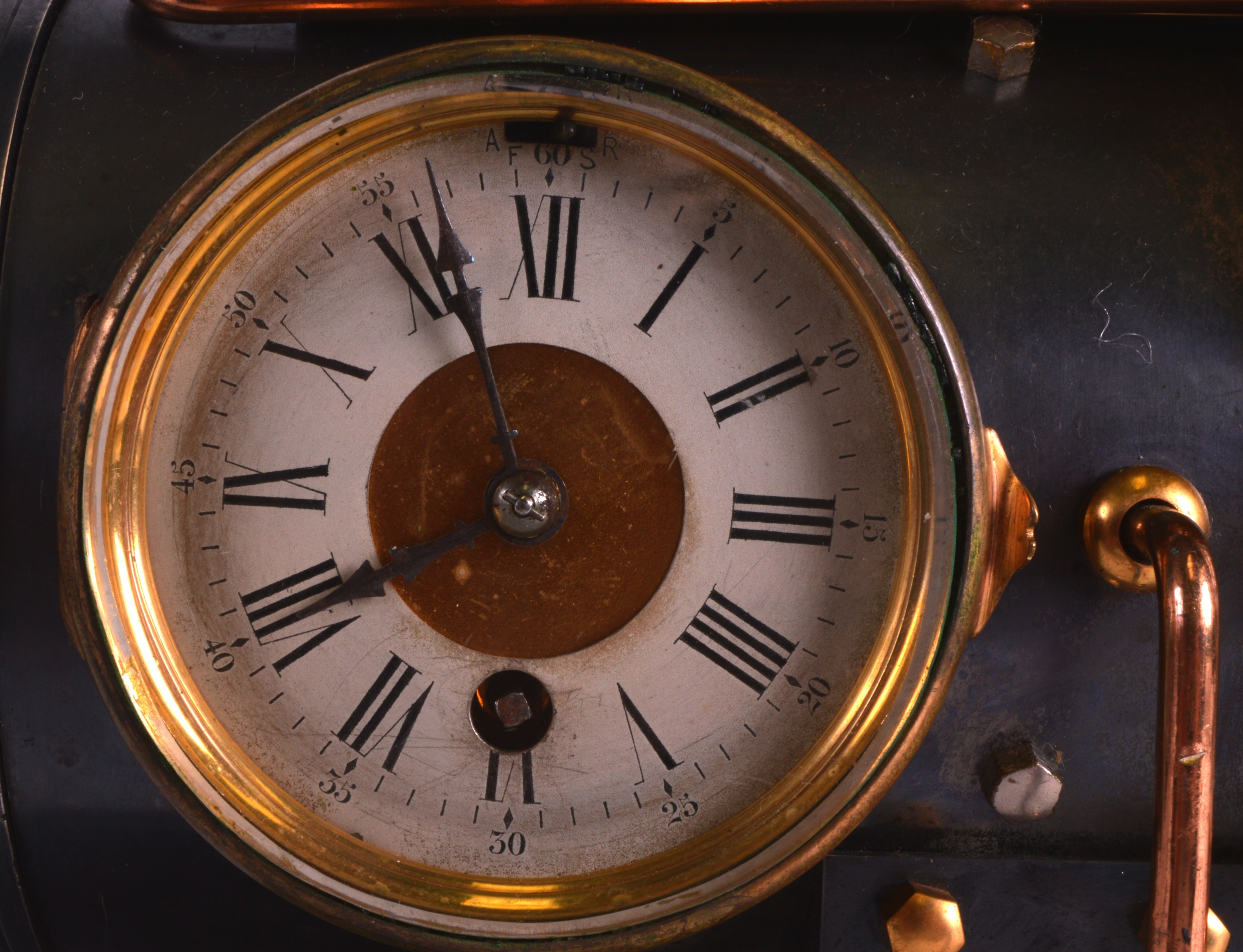 A FINE 19TH CENTURY FRENCH INDUSTRIAL BOILER ENGINE CLOCK C1880 with Roman chapters and blued - Image 2 of 7