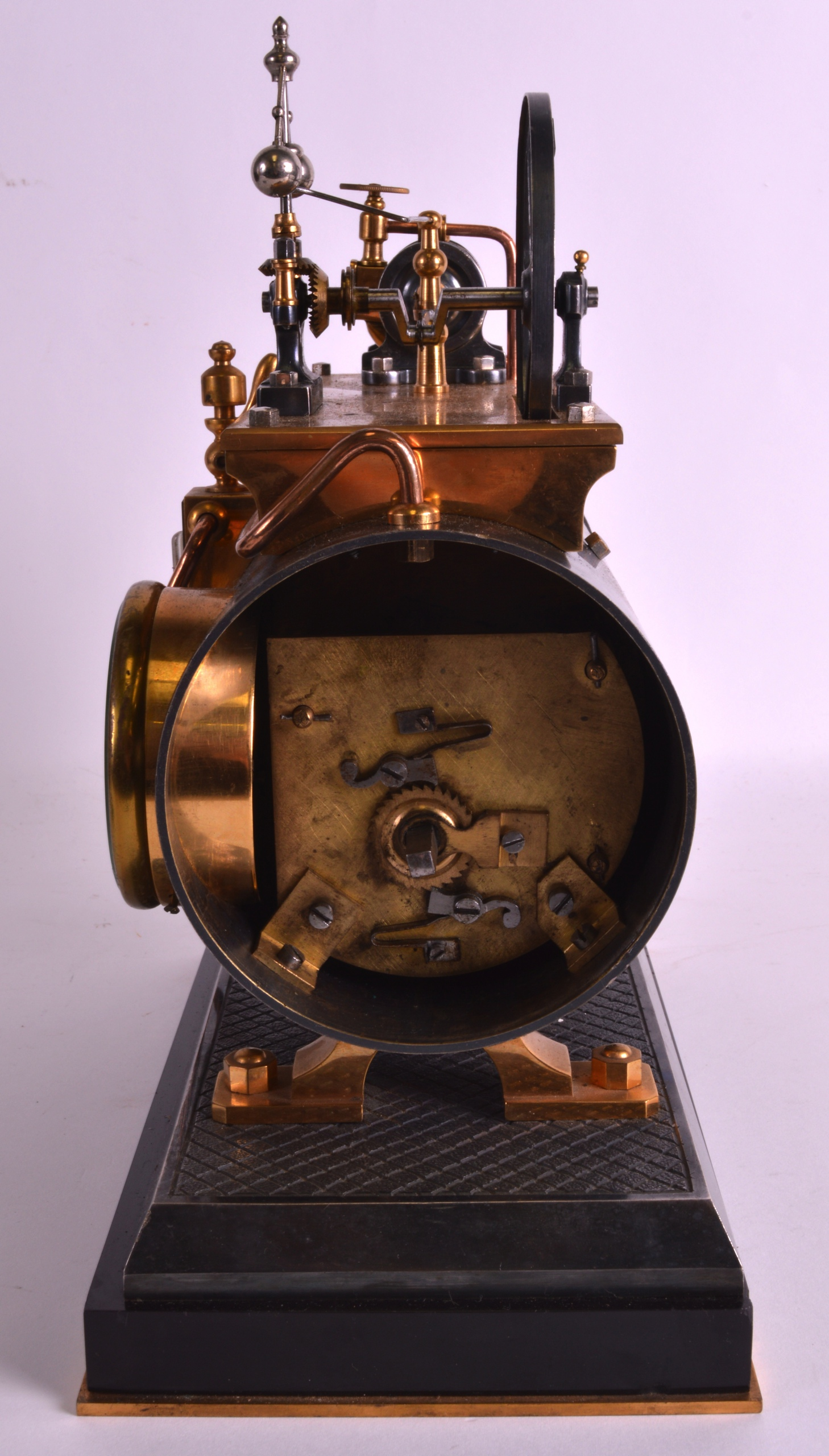 A FINE 19TH CENTURY FRENCH INDUSTRIAL BOILER ENGINE CLOCK C1880 with Roman chapters and blued - Image 6 of 7