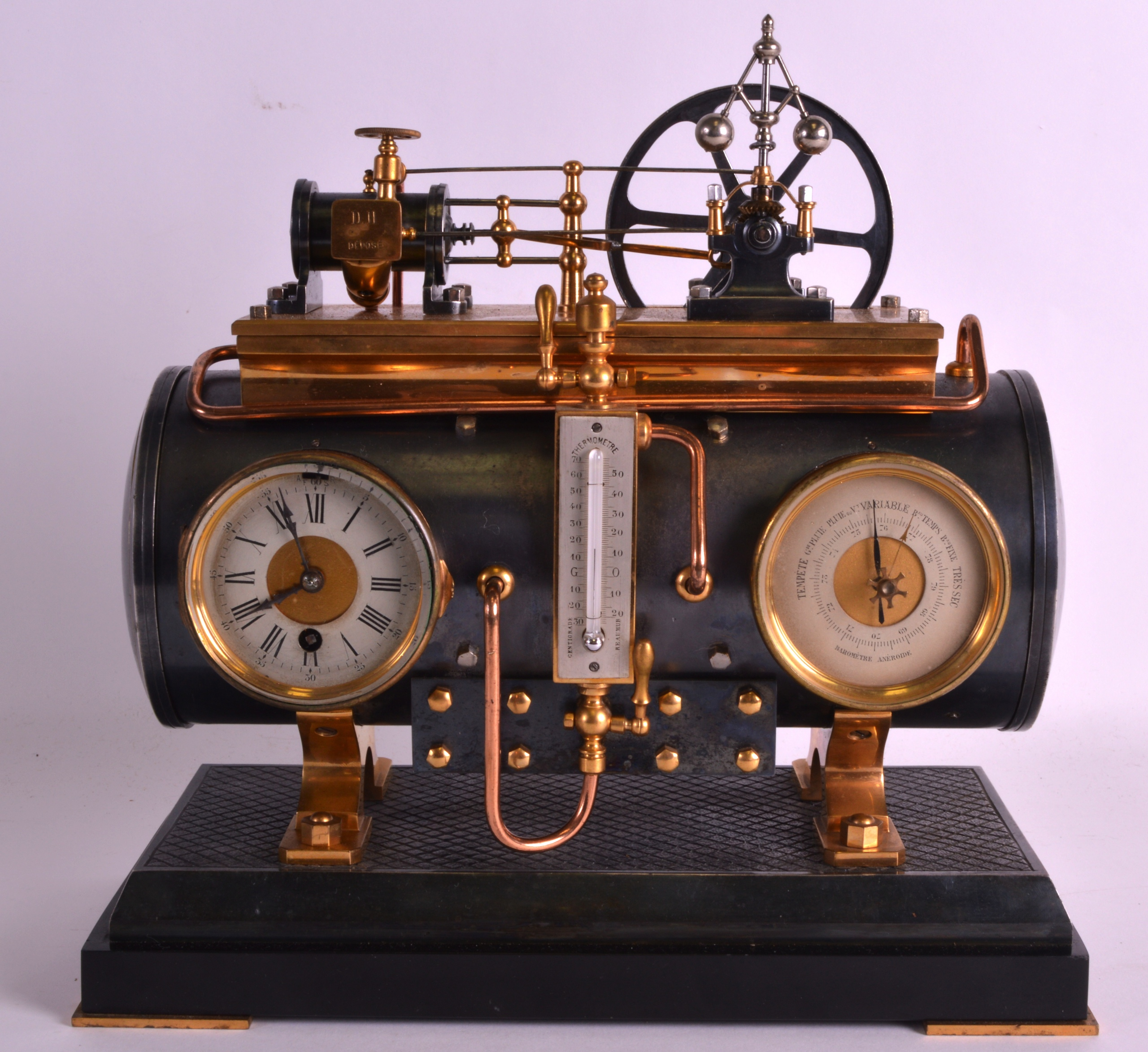 A FINE 19TH CENTURY FRENCH INDUSTRIAL BOILER ENGINE CLOCK C1880 with Roman chapters and blued