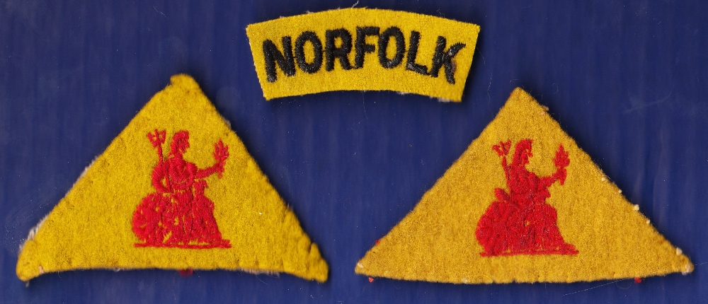 WWI The Norfolk Regiment Officers cloth shoulder titles, Yellow triangle with red stitched Britannia
