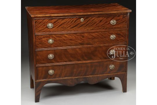 8c2e7994b567 HIGHLY FIGURED FLAME BIRCH HEPPLEWHITE CHEST. Maine or New Hampshire ...