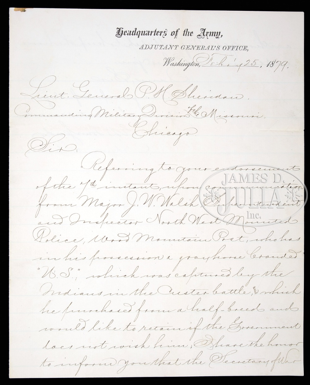 GENERAL ALFRED H. TERRY SIGNED DOCUMENT SURRENDERING A HORSE THAT SURVIVED THE BATTLE OF THE - Image 2 of 2