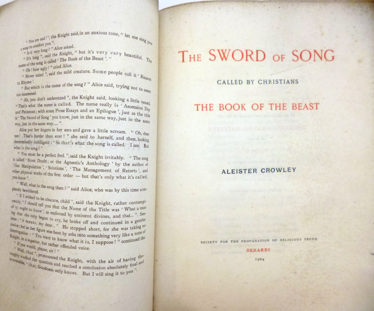 ALEISTER CROWLEY: 2 ttls: THE SWORD OF SONG CALLED BY CHRISTIANS THE BOOK OF THE BEAST, Benares, - Image 5 of 14
