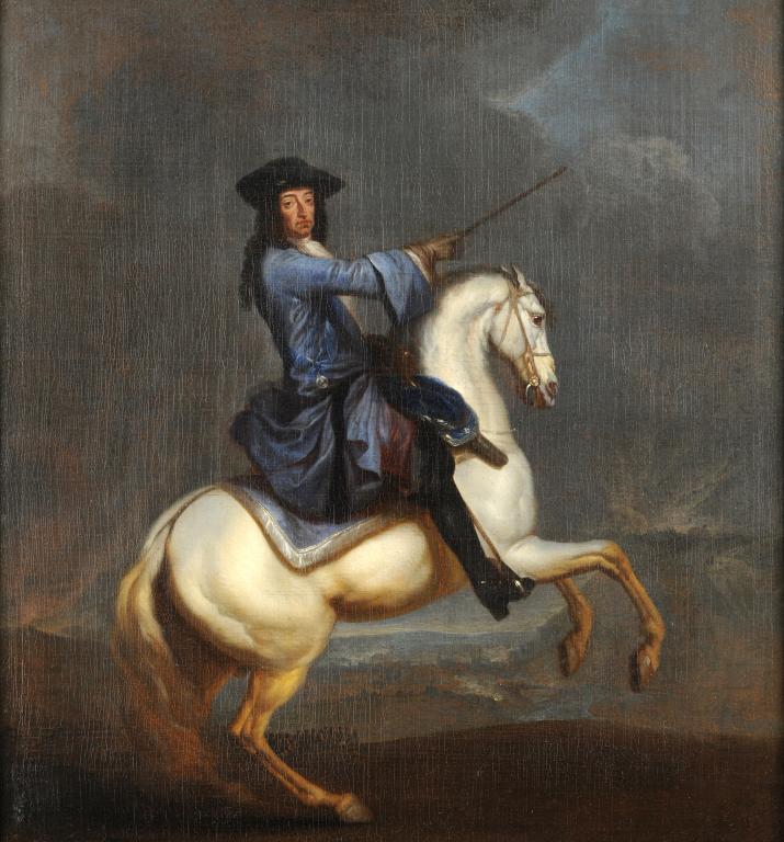 STUDIO OF JAN WYCK EQUESTRIAN PORTRAIT OF WILLIAM III AT THE BATTLE OF THE BOYNE oil on canvas, 59 x
