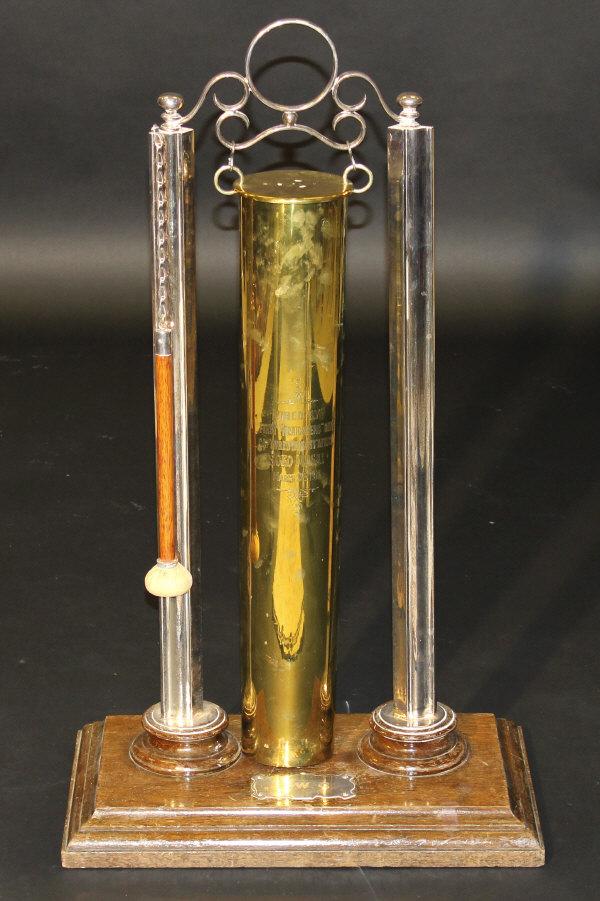 A World War I brass shell hung as a gong, - Image 2 of 2