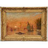 """TABLEAU """"VUE DE VENISE"""" DE HENRY GERARD Huile sur panneau encadrée représentant une vue de Venise au"""