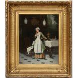 """TABLEAU """"LA SOUBRETTE"""" Huile sur toile encadrée, représentant une servante dans une salle à manger"""