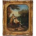 """TABLEAU """"SCENE DE PARC"""" Huile sur toile encadrée représentant un couple dans un parc, la femme"""