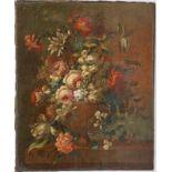 """TABLEAU """"COMPOSITION FLORALE"""" Huile sur toile ( réentoilée ) représentant un bouquet de fleurs"""